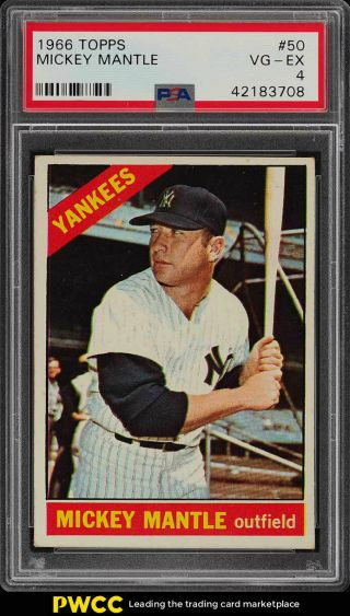 1966 Topps Mickey Mantle 50 Psa 4 Vgex (pwcc)