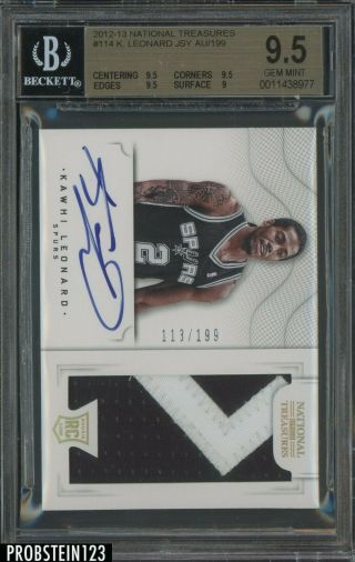 2012 - 13 National Treasures Kawhi Leonard Rpa Rc Rookie Patch Auto /199 Bgs 9.  5