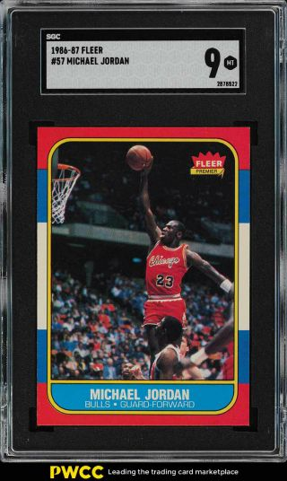 1986 Fleer Basketball Michael Jordan Rookie Rc 57 Sgc 9 (pwcc)