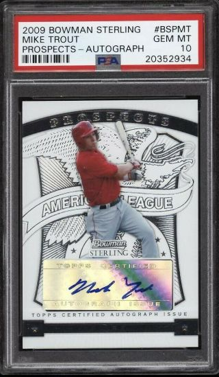 2009 Bowman Sterling Prospects Mike Trout Rookie Rc Auto Psa 10 Gem