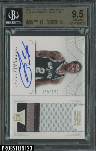 2012 - 13 National Treasures Kawhi Leonard Rpa Rc 3 - Color Patch Auto /199 Bgs 9.  5
