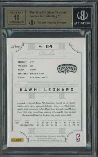 2012 - 13 National Treasures Kawhi Leonard RPA RC 3 - Color Patch AUTO /199 BGS 9.  5 2