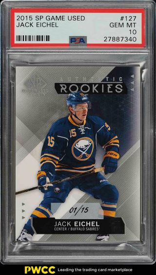 2015 Sp Game Jack Eichel Rookie Rc /15 127 Psa 10 Gem (pwcc)