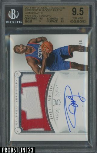 2014 - 15 National Treasures Joel Embiid 76ers Rpa Rc Patch Auto 2/10 Bgs 9.  5