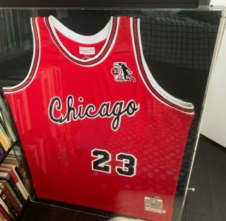 Michael Jordan Uda Signed & Framed Jersey Chicago Bulls Retro 1985 Roy Auto 123