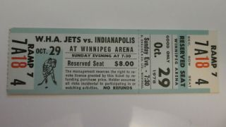 Wha Ticket Stub Jets Vs Racers Oct.  29,  1978 Gretzky