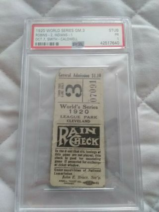 1920 World Series Ticket Stub Psa Graded