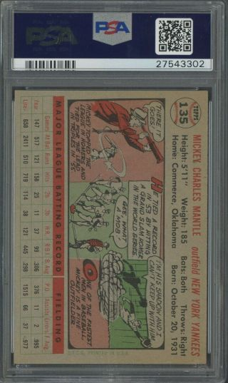1956 Topps 135 Mickey Mantle Yankees HOF GRAY BACK PSA 8.  5 LOOKS UNDERGRADED 2