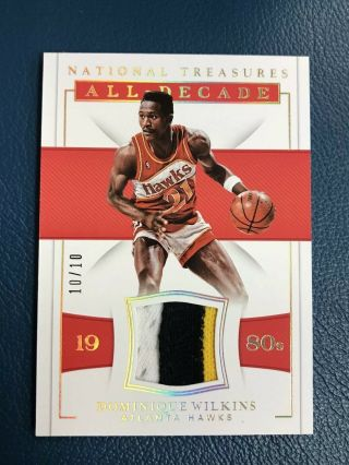 2018 - 19 National Treasures Dominique Wilkins Game 3 Color Patch /10 Hawks