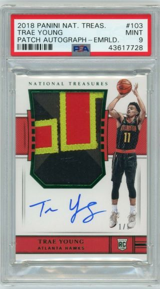 2018 - 19 National Treasures Trae Young Rookie Auto Patch Emerald 1/5 Psa 9