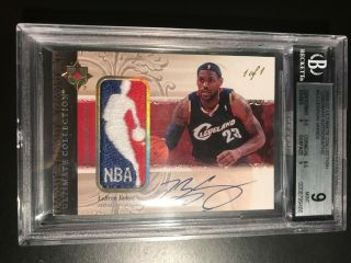 2006 - 07 Ud Ultimate Lebron James Game Nba Logoman Patch Auto 1/1 Bgs 9