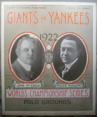 1922 World Series Program Giants Top Yankees,  Babe Ruth In Ny Yanks 2nd Pennant