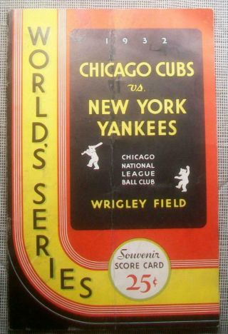 """1932 World Series Program Yankees @ Chicago Cubs Babe Ruth """" Called Shot """" Game 3"""