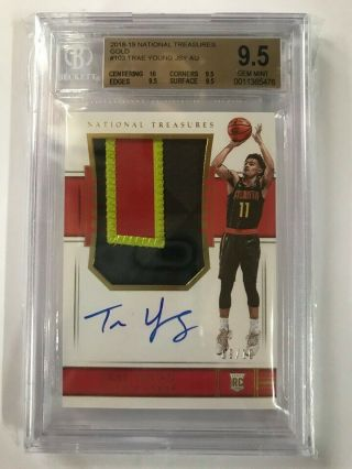 2018 - 19 National Treasures Gold Rpa Rookie Patch Auto Trae Young 09/10 Bgs 9.  5