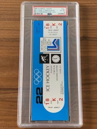 1980 Olympics Hockey Miracle on Ice USA vs USSR Complete Full (8) Ticket Set PSA 10