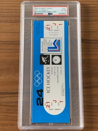 1980 Olympics Hockey Miracle on Ice USA vs USSR Complete Full (8) Ticket Set PSA 11