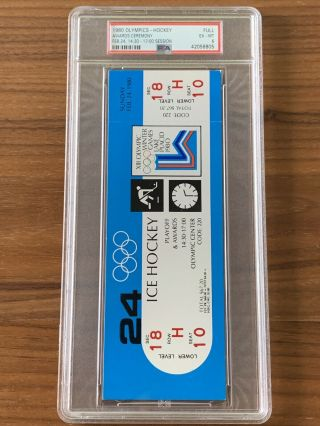 1980 Olympics Hockey Miracle on Ice USA vs USSR Complete Full (8) Ticket Set PSA 12