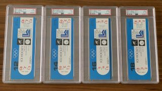 1980 Olympics Hockey Miracle on Ice USA vs USSR Complete Full (8) Ticket Set PSA 3