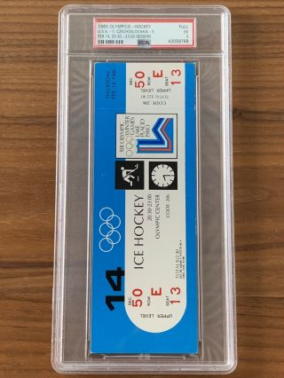1980 Olympics Hockey Miracle on Ice USA vs USSR Complete Full (8) Ticket Set PSA 6
