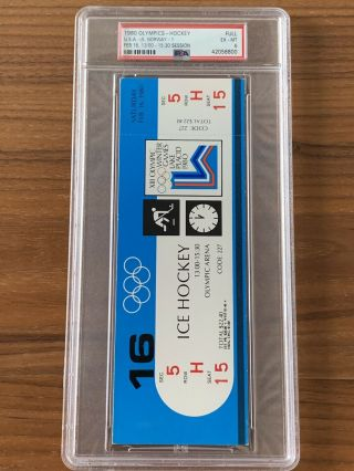 1980 Olympics Hockey Miracle on Ice USA vs USSR Complete Full (8) Ticket Set PSA 7