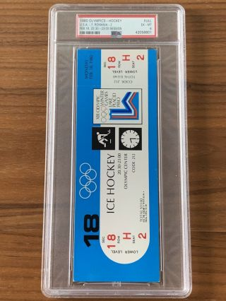 1980 Olympics Hockey Miracle on Ice USA vs USSR Complete Full (8) Ticket Set PSA 8