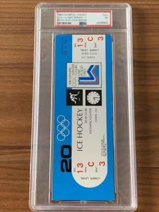 1980 Olympics Hockey Miracle on Ice USA vs USSR Complete Full (8) Ticket Set PSA 9