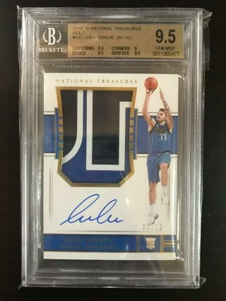2018 - 19 National Treasures Gold RPA Rookie Patch Auto Luka Doncic 03/10 BGS 9.  5 3
