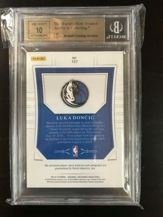 2018 - 19 National Treasures Gold RPA Rookie Patch Auto Luka Doncic 03/10 BGS 9.  5 4