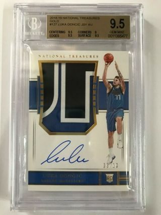 2018 - 19 National Treasures Gold RPA Rookie Patch Auto Luka Doncic 03/10 BGS 9.  5 5