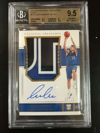 2018 - 19 National Treasures Gold RPA Rookie Patch Auto Luka Doncic 03/10 BGS 9.  5 7