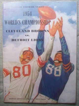1954 Nfl Championship Pre Bowl Program Superbowl Browns Rout Lions 56 - 10