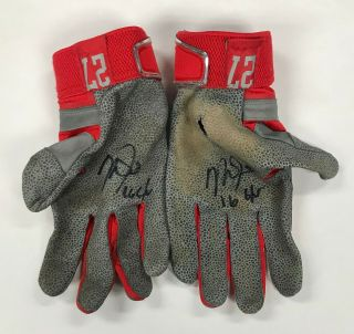Mike Trout 2x Signed 2016 Game Nike Batting Gloves Autographed W/ Loa Auto