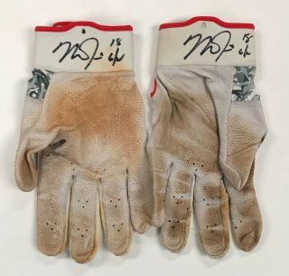 Mike Trout 2x Signed 2017 Game Nike Batting Gloves Autographed W/ Loa Auto