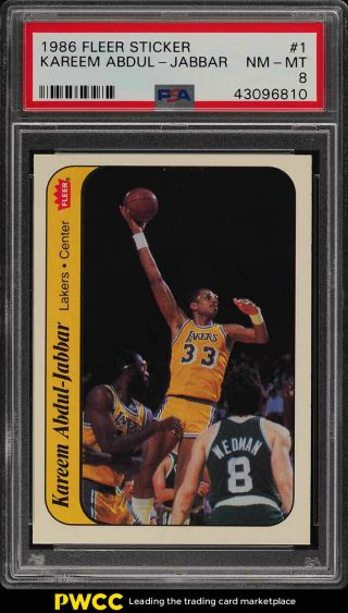 1986 Fleer Sticker Kareem Abdul - Jabbar 1 Psa 8 Nm - Mt (pwcc)