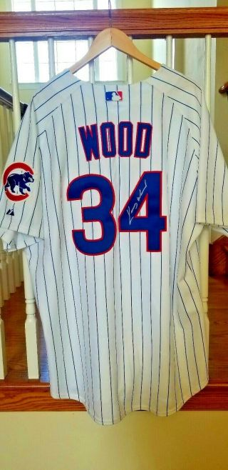 2004 Kerry Wood Signed Auto Chicago Cubs Game Home Jersey