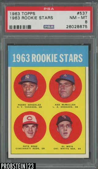 "1963 Topps 537 Pete Rose Cincinnati Reds Rc Rookie Psa 8 "" Looks Nicer """