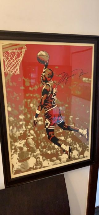 Michael Jordan Shepard Fairey Dual Signed Chicago Bulls Artwork 24x36 - 26/50