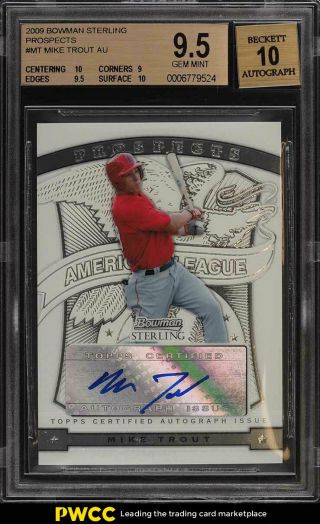 2009 Bowman Sterling Prospect Mike Trout Rookie Rc Auto Bgs 9.  5 Gem (pwcc)