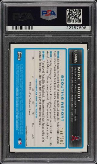 2009 Bowman Chrome Refractor Mike Trout ROOKIE RC AUTO /500 PSA 10 GEM MT (PWCC) 2