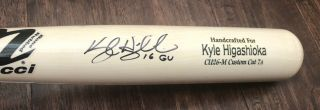 Kyle Higashioka Game 2016 Uncracked Bat Autograph Signed Yankees