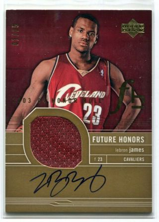 2003 - 04 Honor Roll Autograph Jersey Gold Rc Lebron James 1/25
