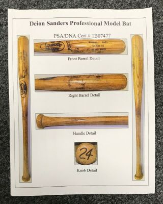 Deion Sanders 1991 - 1994 Game Bat 34