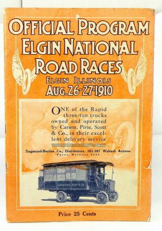Official 1910 Program Elgin National Road Races,  Elgin,  Ill. ,  August 26 - 27 1910