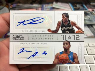 2012 - 13 National Treasures Kawhi Leonard / Maurice Harkless Dual Rc Auto 44/49