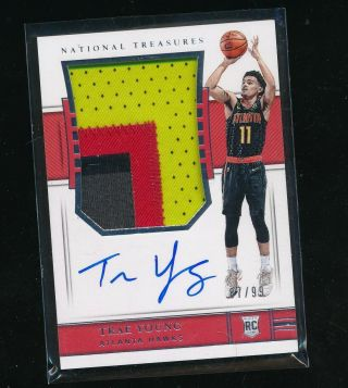 2018 - 19 National Treasures 103 Trae Young Rc Patch Auto Rpa 37/99