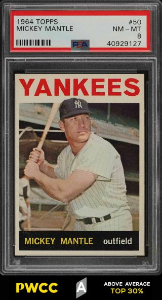 1964 Topps Mickey Mantle 50 Psa 8 Nm - Mt (pwcc - A)