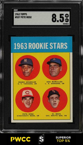 1963 Topps Pete Rose Rookie Rc 537 Sgc 8.  5 Nm - Mt,  (pwcc - S)
