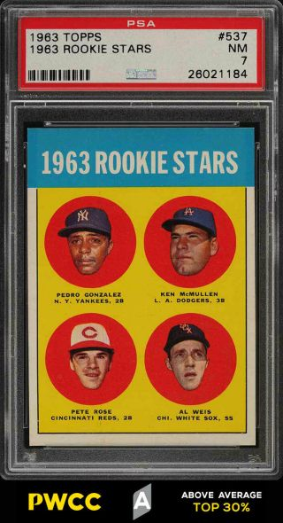 1963 Topps Pete Rose Rookie Rc 537 Psa 7 Nrmt (pwcc - A)