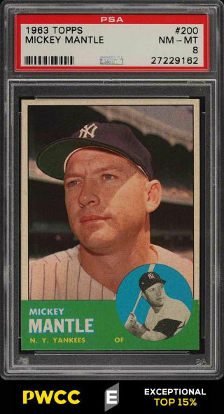 1963 Topps Mickey Mantle 200 Psa 8 Nm - Mt (pwcc - E)