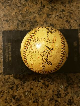 1923 World Series Game - Ball Signed by Ruth,  Huggins,  McGraw.  PSA Certified 5